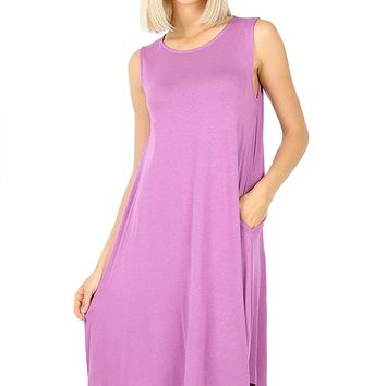 Sleeveless Trapeze Dress with Pockets