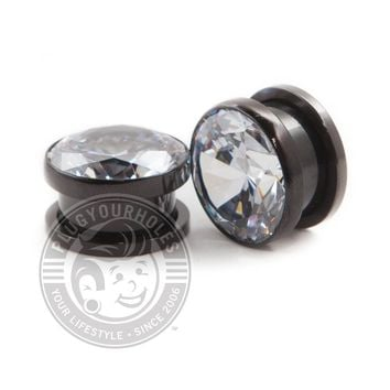 Big Bling Black Threaded Steel Plugs