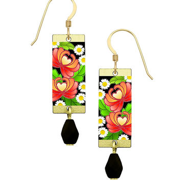 Lemon Tree Colorful Red Flower Earrings with Gold Filled Ear Wires