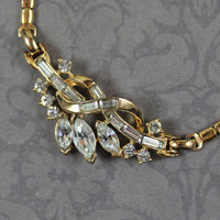 Vintage Trifari Patent Pending Twisted Gold Rhinestone Necklace