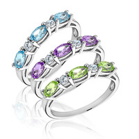 Multi Gemstone Three Stackable Ring Set