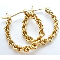 Oval Gold Over Sterling Silver Hoop Earrings