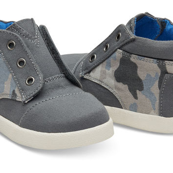 GREY COTTON TWILL CAMO TINY TOMS PASEO-HIGH SNEAKERS