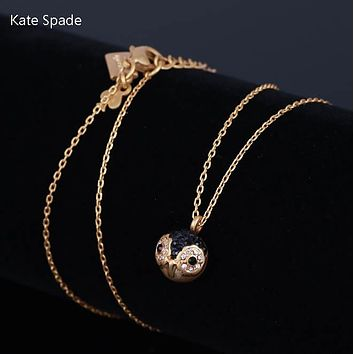 Kate Spade Fashion New Diamond Owl Pendant Women Necklace Golden