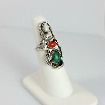 Navajo Ring - Natural Stone Ring - Native American Sterling Ring Size 5 - Mid-Century Ring - Multistone Ring - Red Coral MOP Malachite Ring