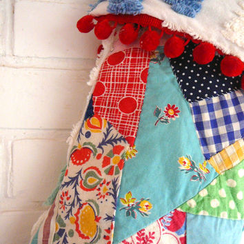 Quilted Christmas Stocking, Large Stocking, Chenille Stocking - Crazy Quilt - Shabby Chic - Cottage Chic