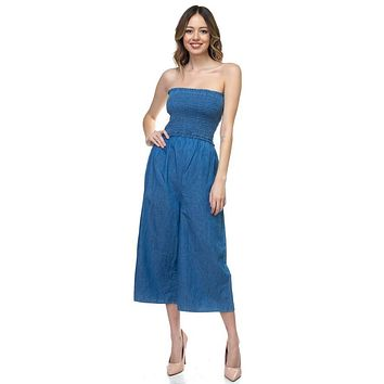 Womens Casual Fashion Smocked Tube Top Jumpsuit