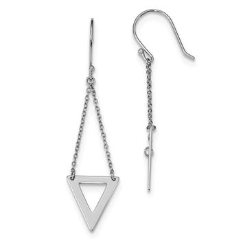 925 Sterling Silver Rhodium-plated Double Chain Triangle Dangle Earrings
