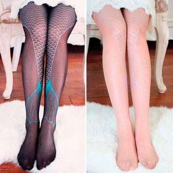 Hot Chic Women Long silk stockings Girls Mermaid Tail Sexy Tattoo Transparent Stockings Suspender Sheer Tights free shipping Hot