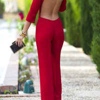 Open Back Straight Jumpsuit Three Quarter Sleeve