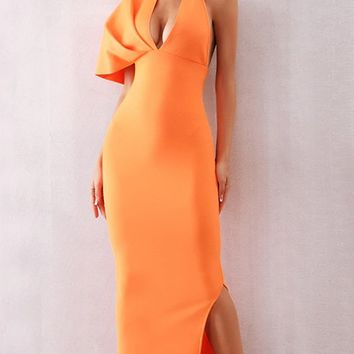 Don't Slip Away Orange One Shoulder Short Sleeve Backless Halter Plunge V Neck Bodycon Side Slit Maxi Dress