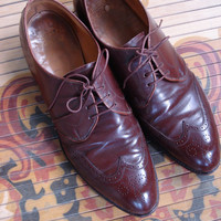 1940s Mens Brown Edwin Clapp Cap Toe Spade Wing Tips Oxford Dress Shoes Size 8 2013232