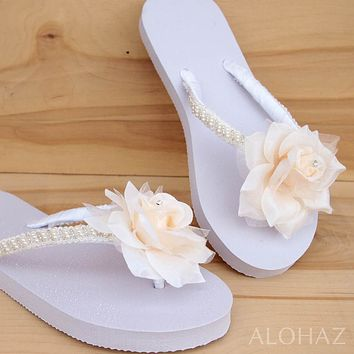 allure cream bridal hawaiian flip flops