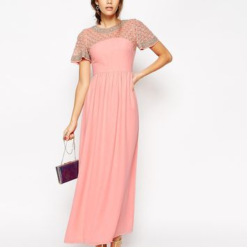 ASOS PETITE Lattice Embellished Flutter Sleeve Maxi Dress