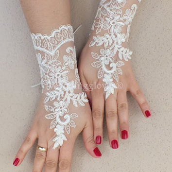 WEDDINGGloves Original design ivory lace gloves,  lace glove, Unique lace glove,   gauntlets free ship