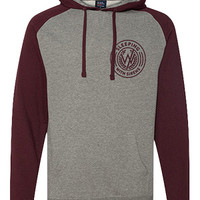 Sleeping With Sirens | Colorblock Collegiate Hoodie (Gunmetal Heather And Burgundy)