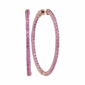 14kt Rose Gold Women's Round Pink Sapphire Slender Inside Outside Hoop Earrings 3-3-4 Cttw - FREE Shipping (USA/CAN)