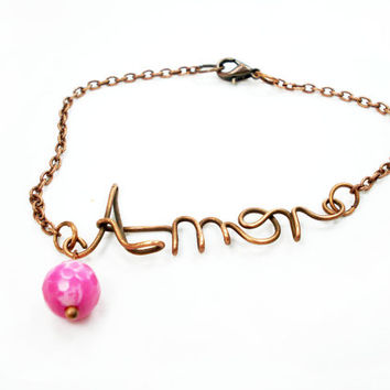 Amor bracelet, word bracelet, word jewelry, wire word bracelet, amor jewlery, word jewellery, word in handmade, word in jewelry, ooak