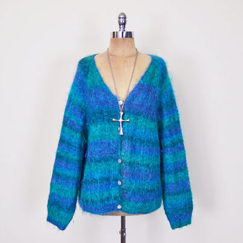 Blue Ombre Stripe Shaggy Furry Fuzzy Mohair Cardigan Mohair Sweater Oversize Cardigan Jumper 90s Grunge Club Kid Plus Size XL XXL 1X 2X 3X