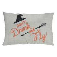 Halloween Don't Drink and Fly Throw Pillow (White)