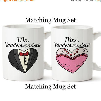 Mr and Mrs Matching Mugs, His And Hers, Husband and Wife, Tuxedo, Gown, Valentine's Day, Anniversary, Gifts, Set Of Mugs, Coffee Cups