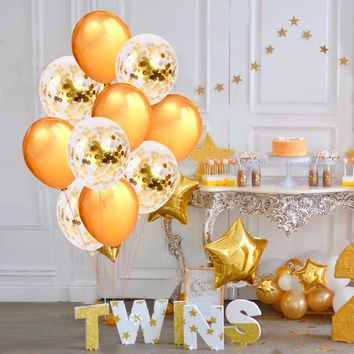 GOLD BALLOONS-Gold Confetti Balloons, Gold Baby Shower Balloons, Gold Wedding Balloons,Gold Birthday Party Balloons, Gold Graduation Balloon