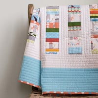 Organic Baby Quilt, WOODLAND CELEBRATION in Aqua and Tangerine, Made to Order