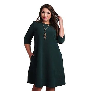 Plus Size Red & Green Dresses Autumn 3/4 Sleeve Party Dress Boho Beach Casual Loose Sundress