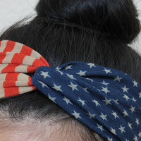 July 4th headband - Patriotic headband - twist flag turban - American flag turban headbands - Twist headband - women headband