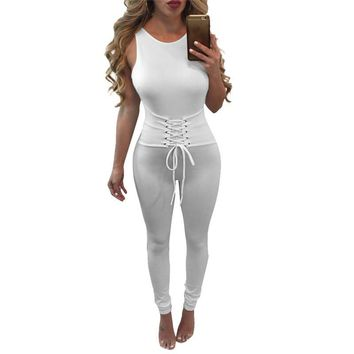 8 Colors Sleeveless Summer Style Jumpsuit Women Lace Up Bandage Sexy Backless Bodycon Long Rompers Overalls Solid Slim Clubwear