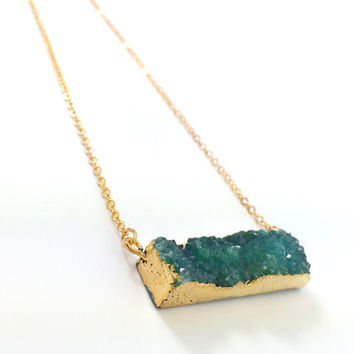 Druzy Necklace, Druzy Bar, Layering, Natural, Stone, Green, Sparkle, Bridesmaid Gift, Glitter, Gold, Boho, Gemstone, Dainty, Trendy