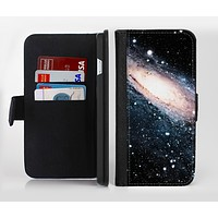 The Swirling Glowing Starry Galaxy Ink-Fuzed Leather Folding Wallet Credit-Card Case for the Apple iPhone 6/6s, 6/6s Plus, 5/5s and 5c
