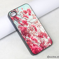 iPhone Case IPHONE 5 CASE  Red Vintage Flower  iPhone 4 case iPhone 4S case iPhone casesHard Plastic Case Rubber Case