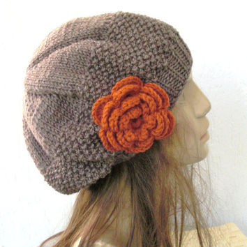 Hand Knit Hat - Womens hat- beret in Taupe with pumpkin  flower- womens Slouch Beanie    Fall Autumn Winter Accessories hat fashion tam