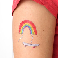 Rainbow Skateboard Tattoo