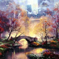 Central Park in the Fall by Thomas Kinkade For Sale : Jacky Gallery, Oil paintings reproductions and supplier