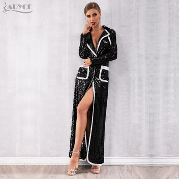 Adyce 2019 New Autumn Women Evening Party Coats Black Sequined Long Sleeve Double Breasted Deep V Club Coat Luxury Trench Coats