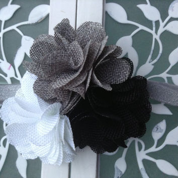 Black white gray burlap headband - headband for girls toddlers and babies - big flower headband - over the top headband