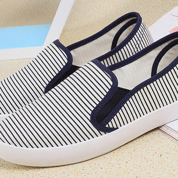 Striped Canvas Slip-On Casual Shoes
