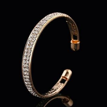 Gold and Crystal Cuff Bracelet