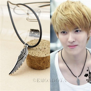 EXO Kris Wing Necklace XOXO Korean Star Vintage Pendant EXO-M/K KPOP Jewelry SM