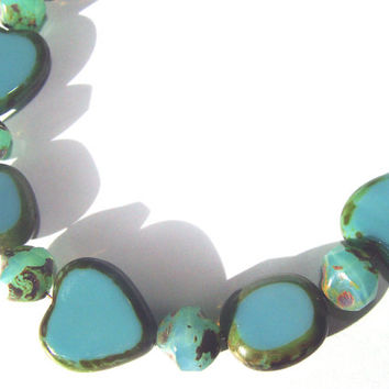Turquoise Blue Hearts Beaded Bracelet Women Fashion Jewelry Czech Beads With Picasso