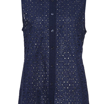 Navy Colleen Sleeveless Contrast Top