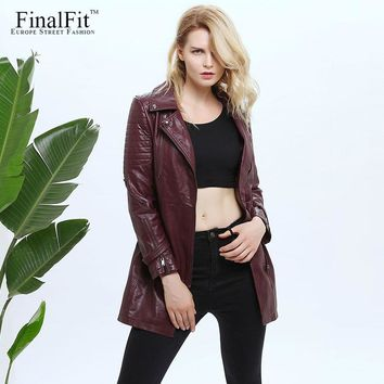FinalFit Longline Faux Leather Coat Women Adjustable Waist Detachable Belt Women Winter Leather Trench Coat