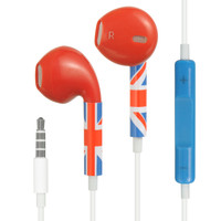 DW Premium HQ Earbud Handsfree Headset 3.5mm Earphones - Union Jack