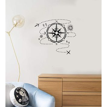 Vinyl Wall Decal Compass Map Adventure Child Kids Room Decor Art Stickers Mural (ig5680)
