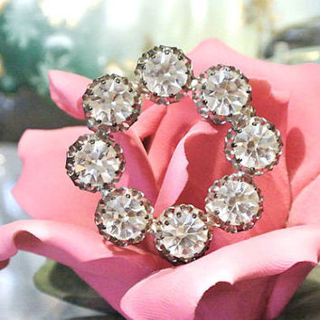Swarovski AUSTRIA Rhinestone Crystal Brooch Antique Art Deco Brooch 1910s 1920s High Fashion Hand Crafted Antique Jewelry Wedding Christmas