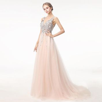 Long Prom Dress 2018 Deep V Neck Backless Beads Crystal Party Gown Sleeveless