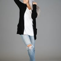 The Bailey Pocket Cardigan in BLACK