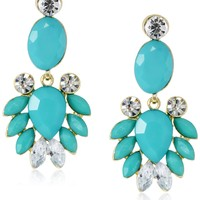 Turquoise-Color Bead and Crystal Statement Earrings, 2""